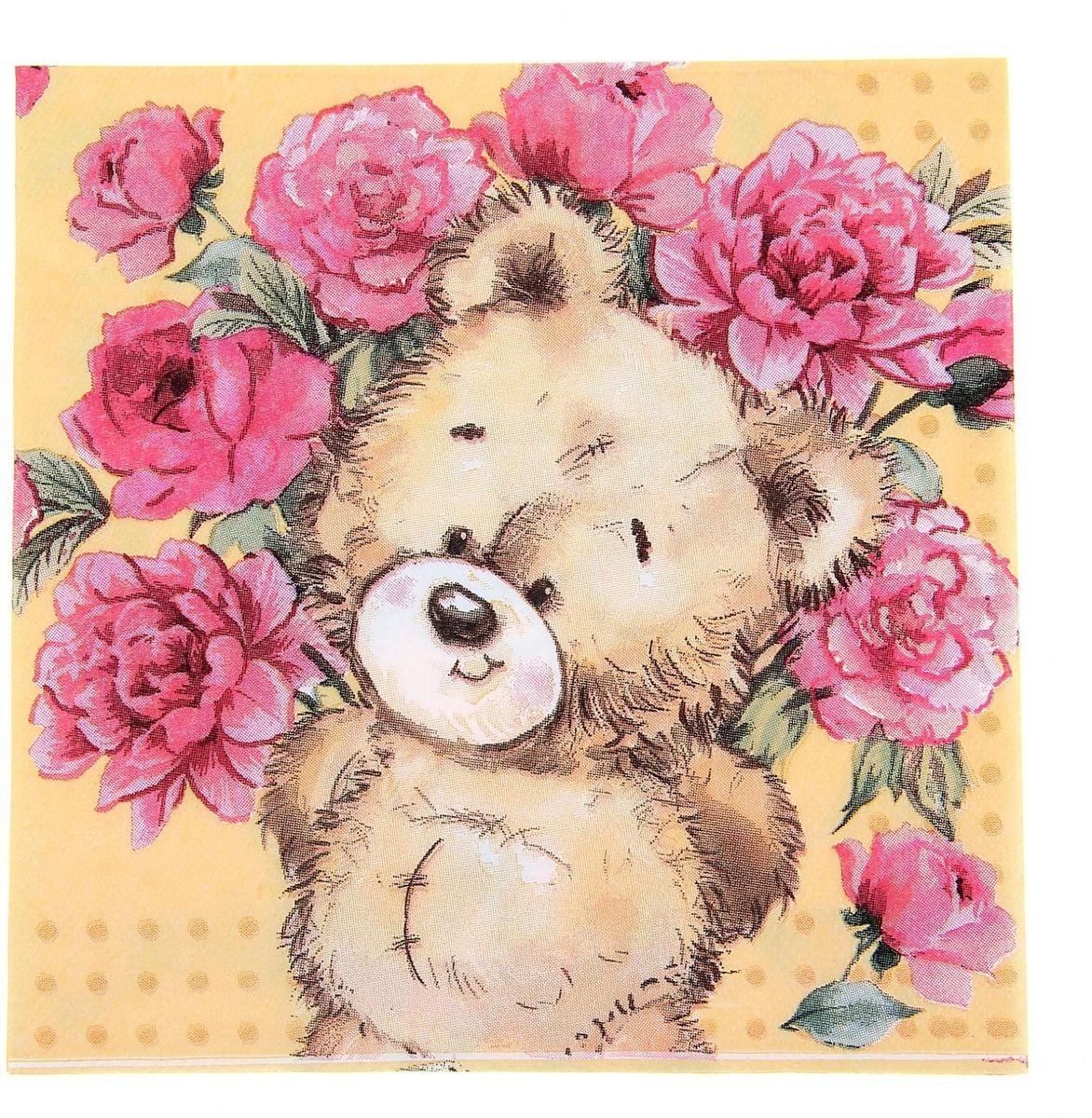 Картинка, открытки с мишками с цветами
